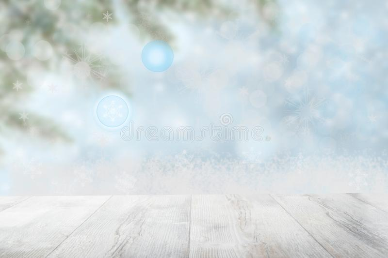 Empty table top or wood floor and blur abstract christmas of background. Empty rustic wooden bright table top in front royalty free stock image