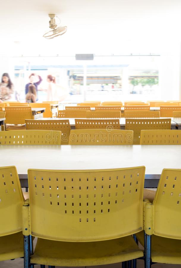 Empty table and chairs that nobody sit in the cafeteria. Empty tables and chairs that nobody sit in the cafeteria royalty free stock photos