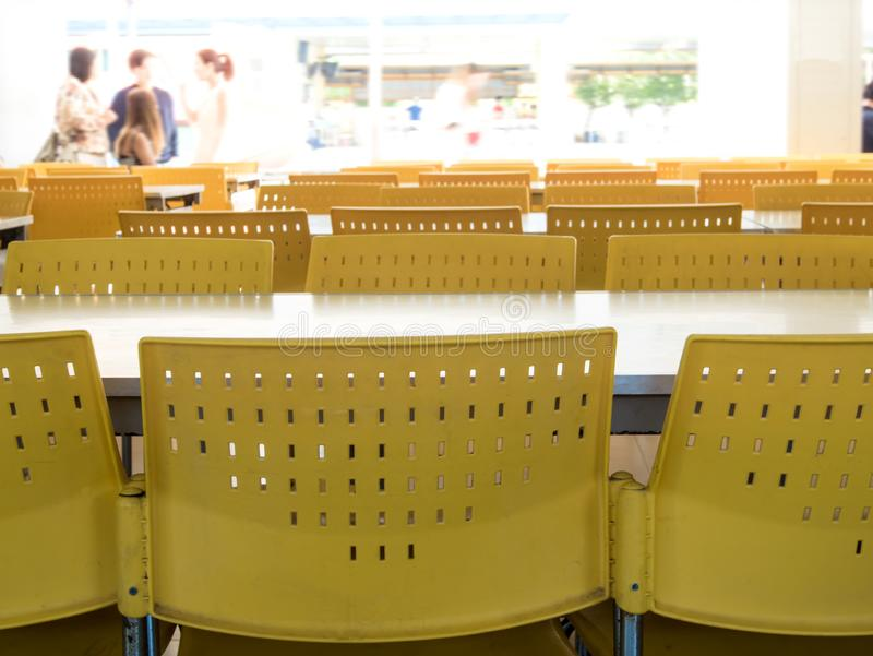 Empty table and chairs that nobody sit in the cafeteria. Empty tables and chairs that nobody sit in the cafeteria stock photography