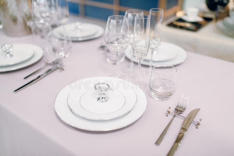 Empty tableware, table setting, nobody stock photos