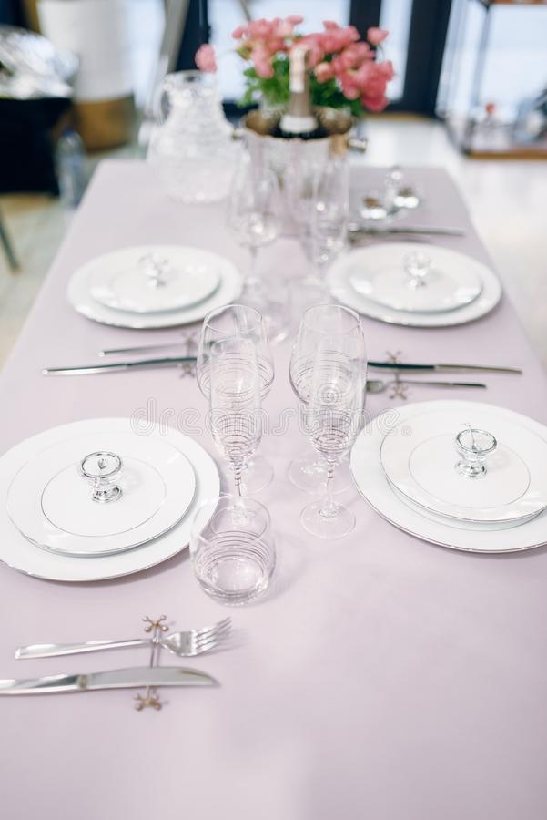 Empty tableware, table setting, nobody royalty free stock image