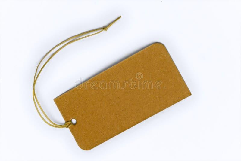 Empty tag amarrado com corda fotos de stock
