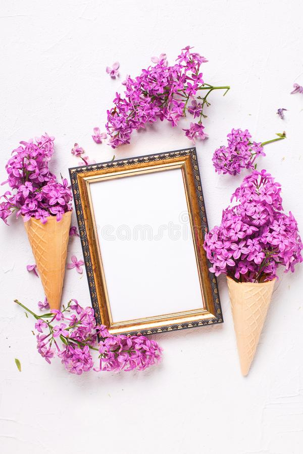 Empty tag and flowers royalty free stock image