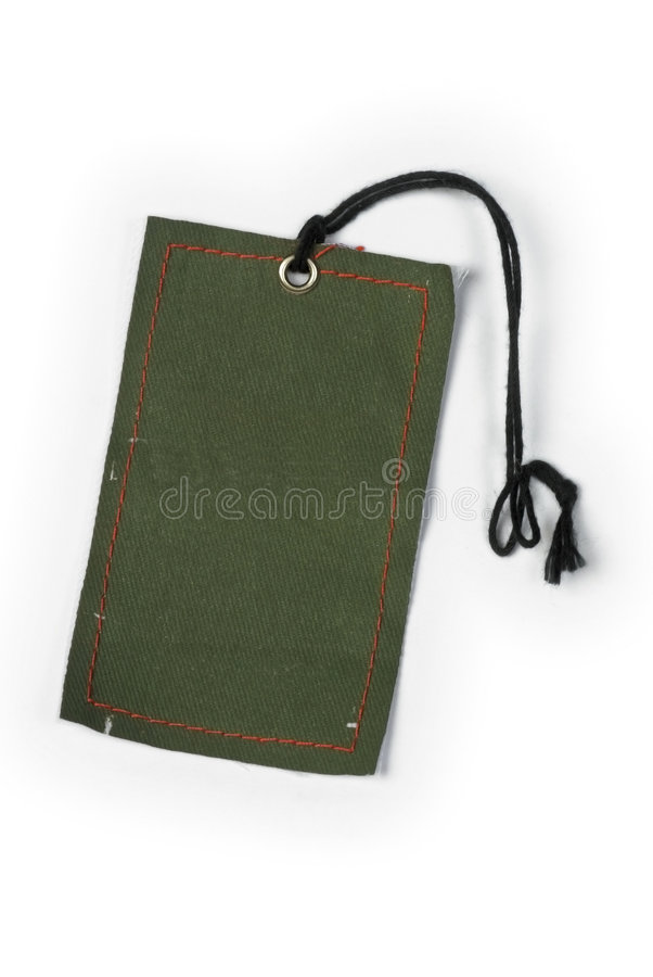 Empty tag tied with string stock image