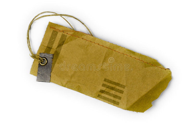 Empty tag tied with string royalty free stock photo