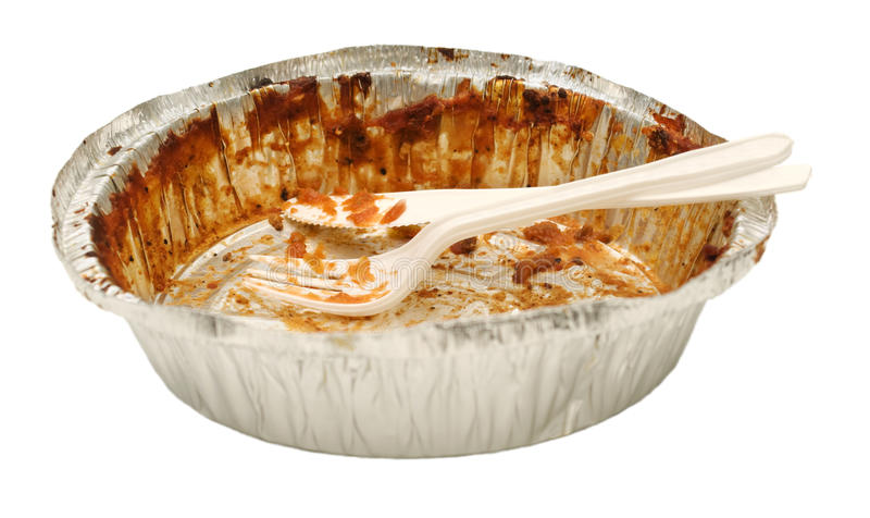 Empty take out food container, plastic knife, fork royalty free stock photo