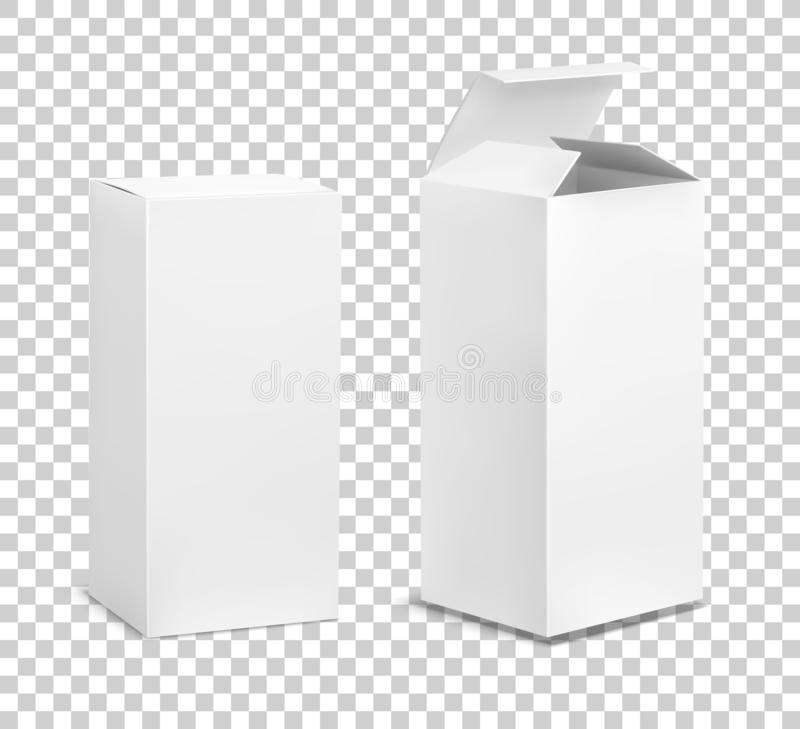 Empty tall box. Cardboard cosmetic boxes rectangular blank package with shadows medicine product vertical packaging vector illustration