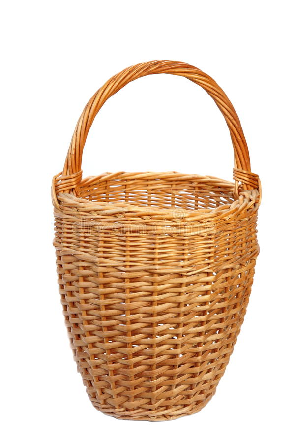 Free Empty Tall Vintage Wicker Basket Isolated Stock Images - 69890184
