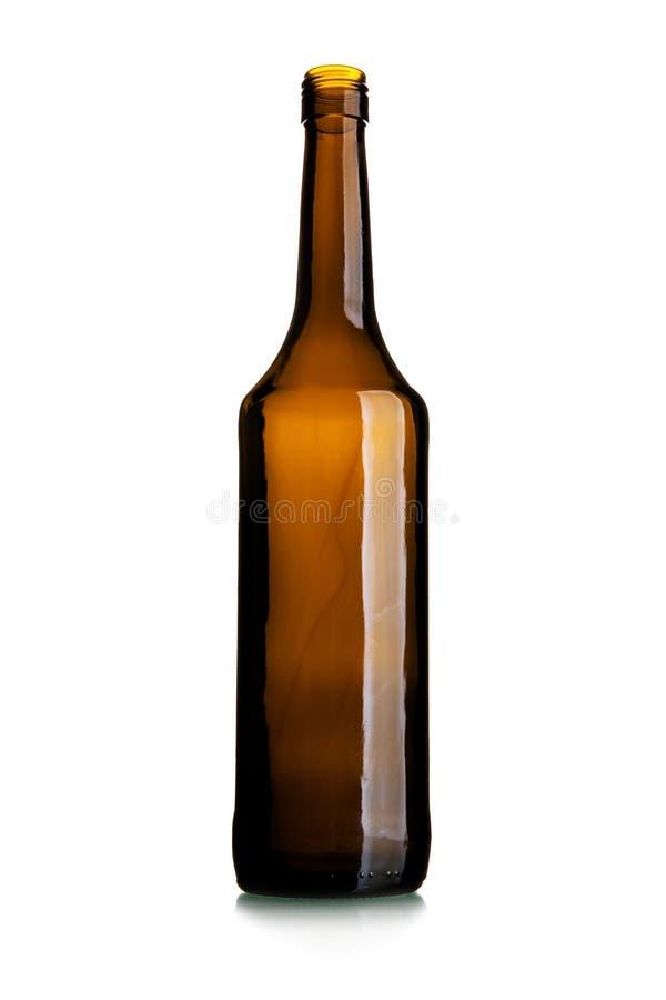 Empty tall wine bottle of dark glass royalty free stock photos