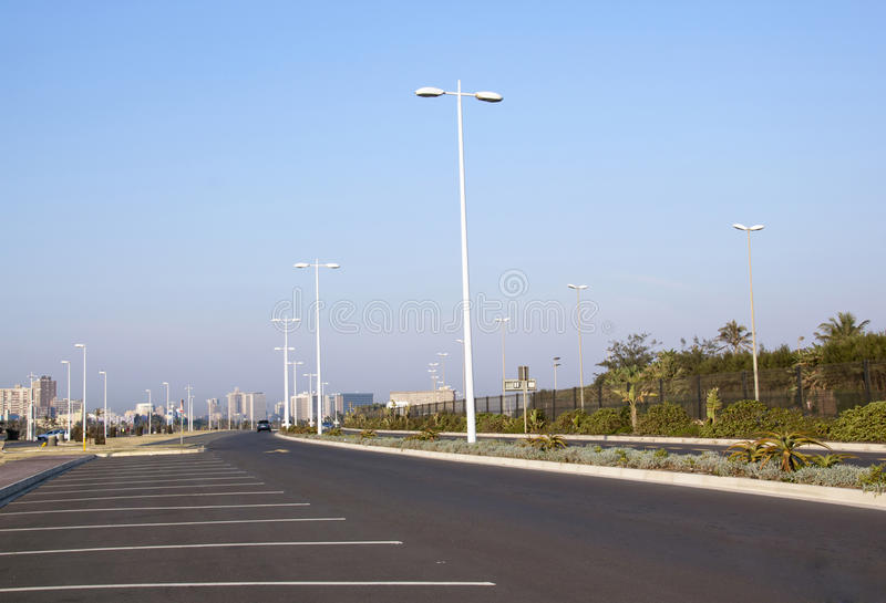 Empty Tarmac Road and Parking Places at Durban Bea stock photo