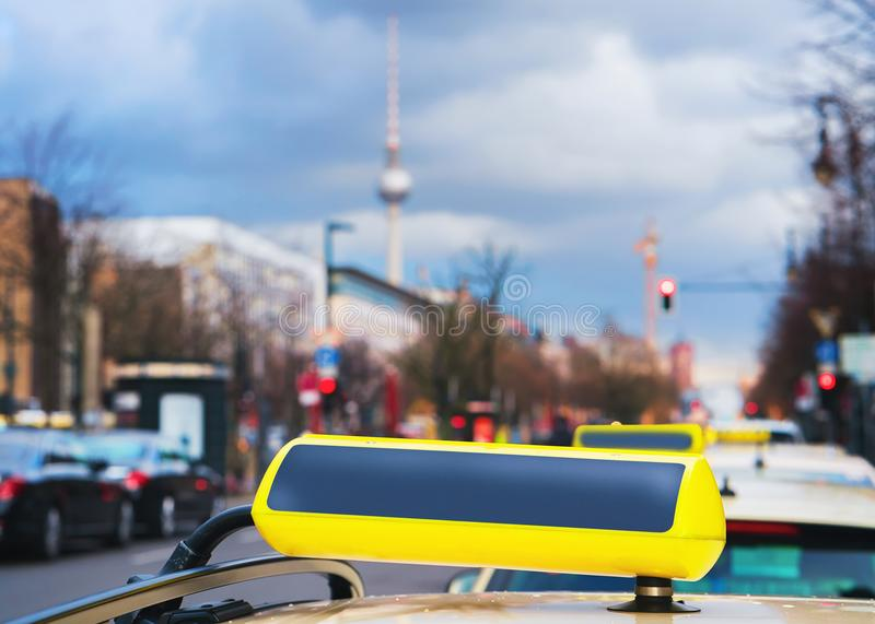Empty Taxi sign board on street of Berlin Germany royalty free stock photography