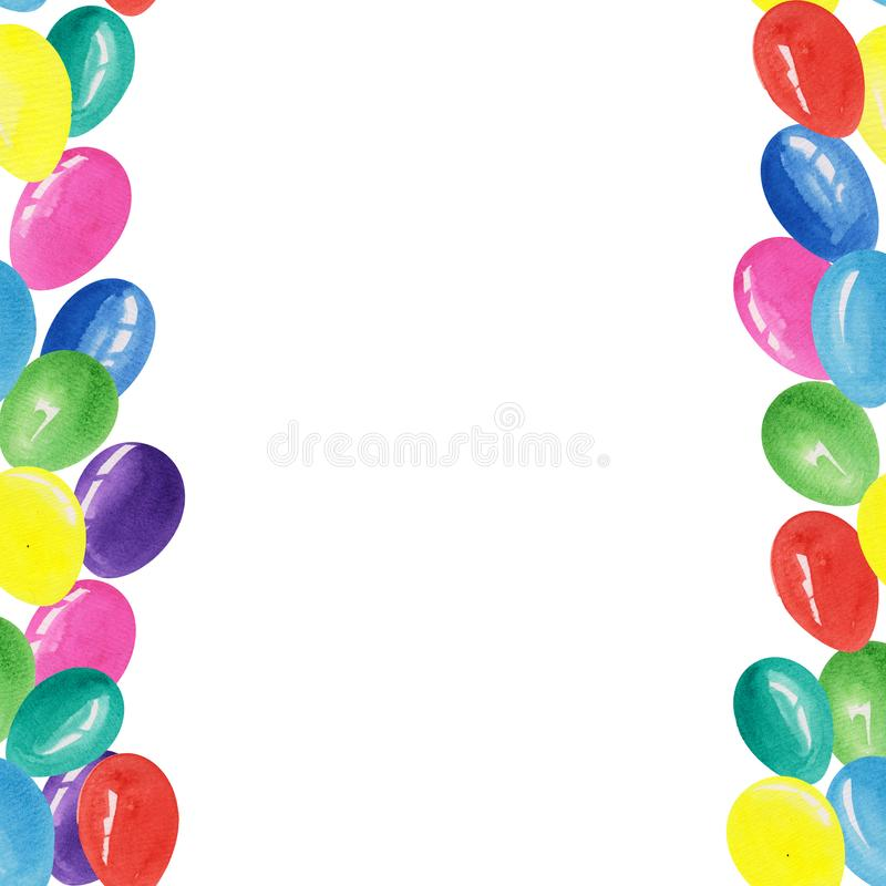 Empty template with colorful balloons around the edges. watercolor illustrations for prints, postcards, posters, templates and. Gift paper stock photos