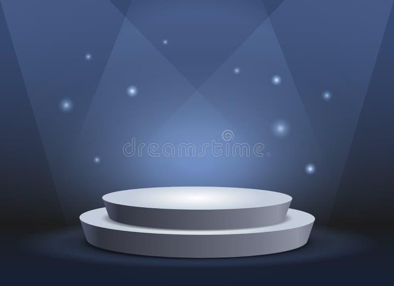 Empty template of white round podium on blue background stock illustration