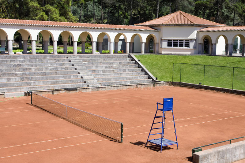Empty tennis courts view outdoor stock photo
