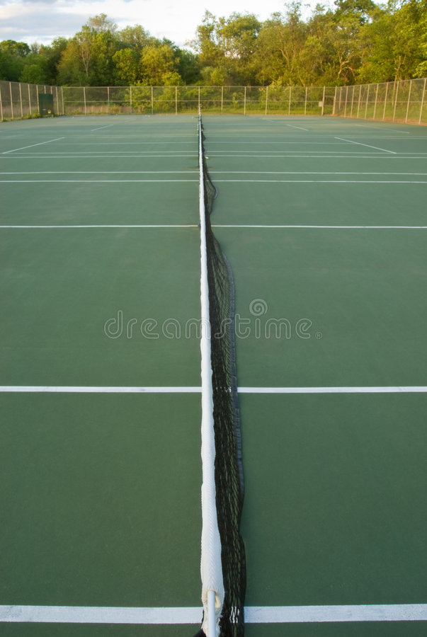 Download Empty Tennis Courts, Wideangle From Center Stock Image - Image: 5327951