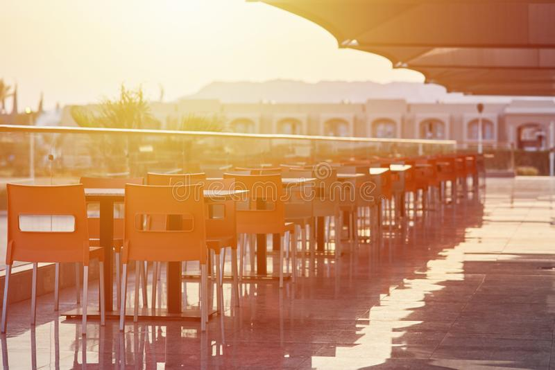 Empty terrace with a table and chairs outdoor royalty free stock image