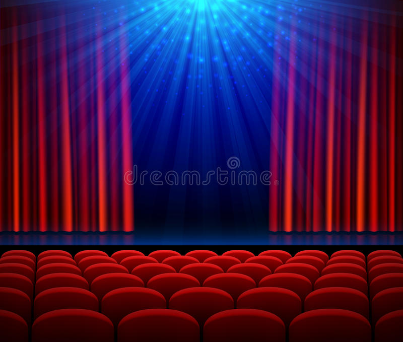 Empty theater stage with red opening curtain, spotlight and seats. Poster background for concert, party, theater or dance show stock illustration