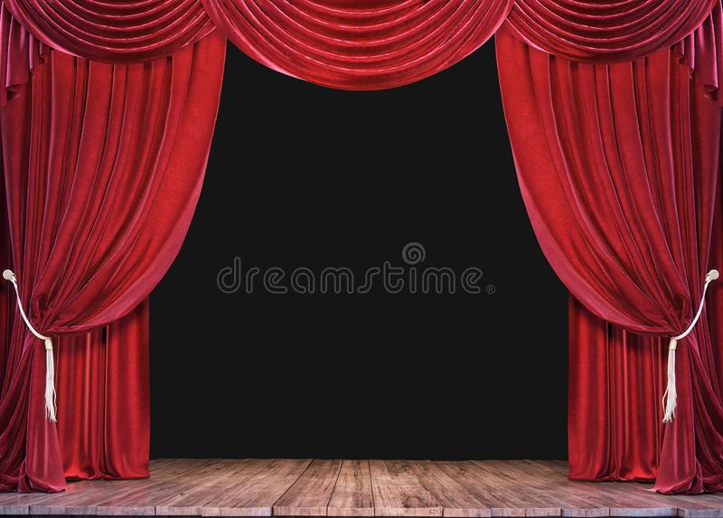 Empty theater stage with wood plank floor and open red curtains royalty free stock photography