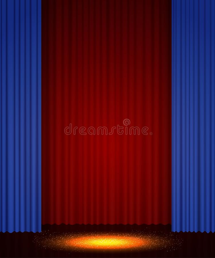 Empty theatre stage with curtain. Background for show, presentation, concert, design royalty free stock photo