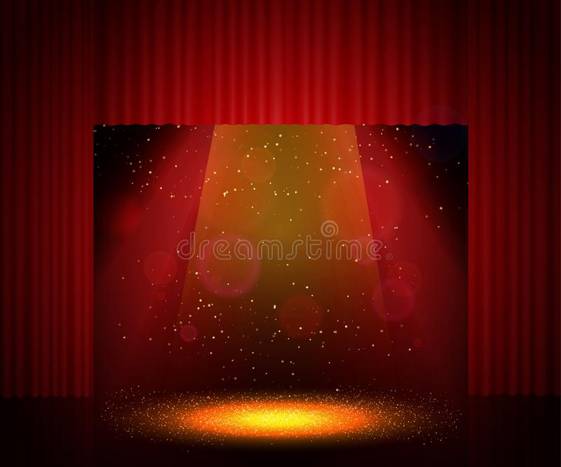 Empty theatre stage with curtain. Background for show, presentation, concert, design stock illustration