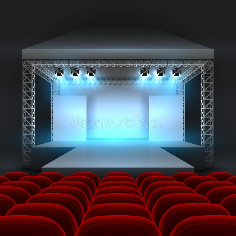 Download Empty Theatre Stage With Spotlight Lighting Concert Hall Podium And Red Seats Rows