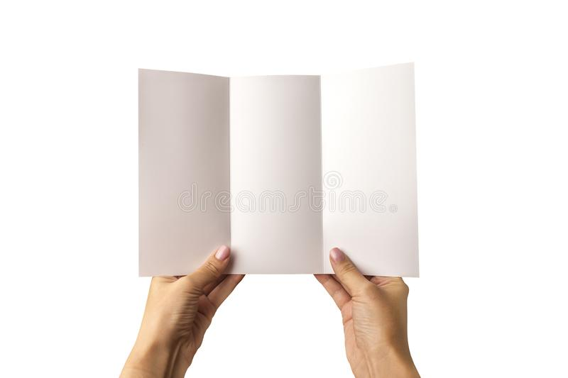 An empty three-fold pamphlet in hand. On a white background. A model for identifying the brand for designers. royalty free stock photography