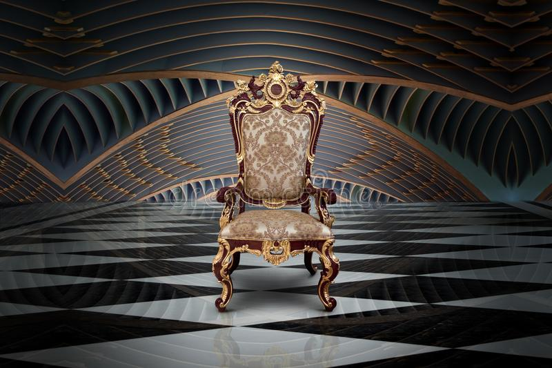 Empty throne in hall stock image
