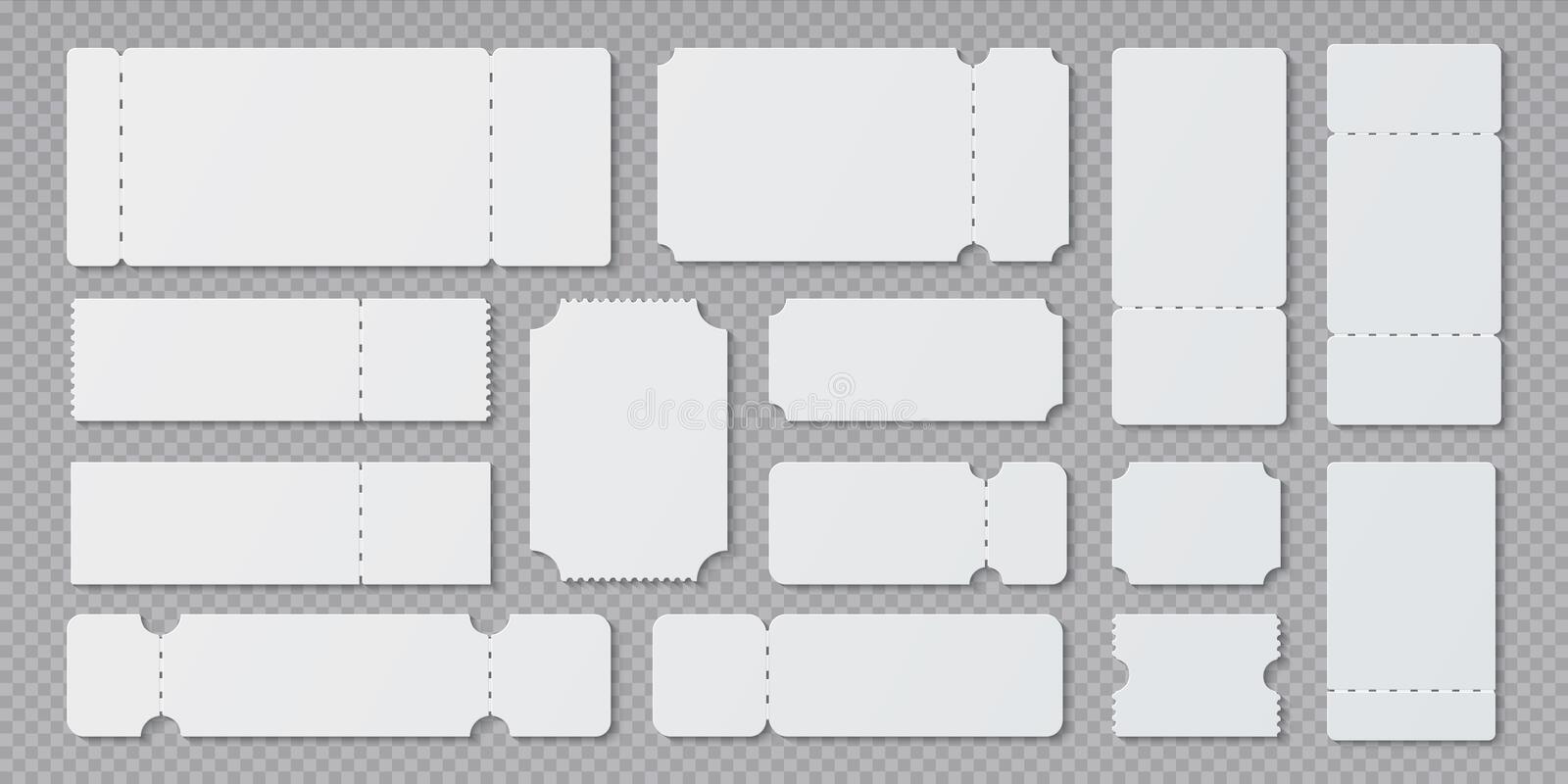 Empty ticket templates. Lottery coupon mockup, blank concert and movie ticket layouts. Vector ruffle edge different royalty free illustration