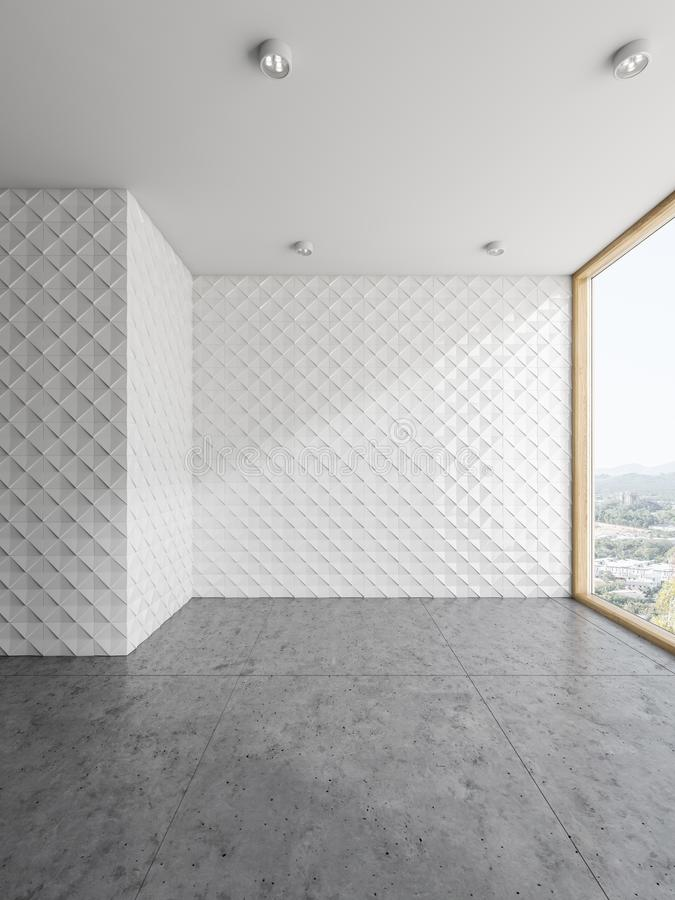 Empty tiled wall panoramic room interior royalty free illustration