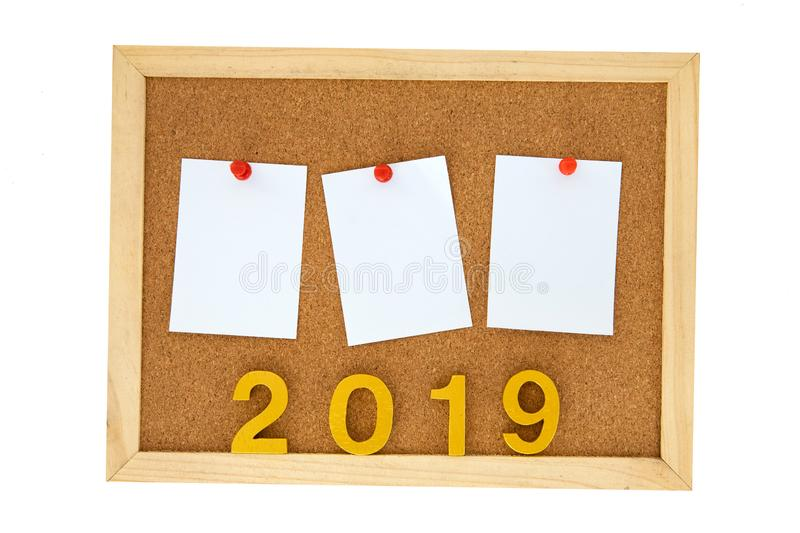 Empty To Do List paper note of year 2019 pinned on cork pin board , new year 2019 target planing concept stock photos