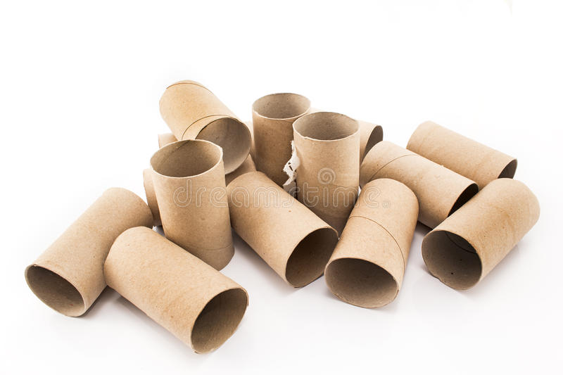 Empty toilet paper rolls isolated on white stock photography