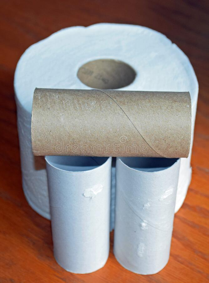 Empty toilet paper rolls. royalty free stock image
