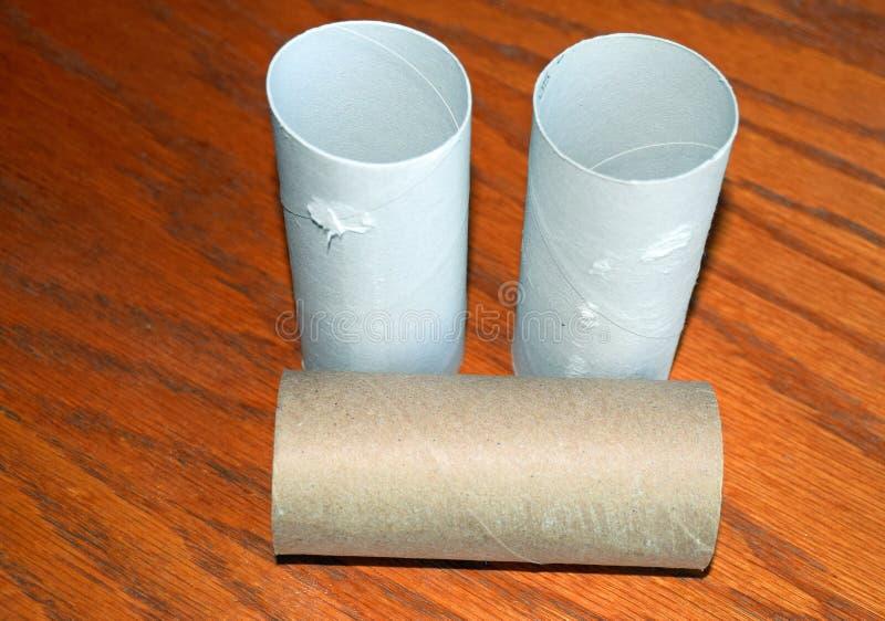 Empty toilet paper rolls. stock photos