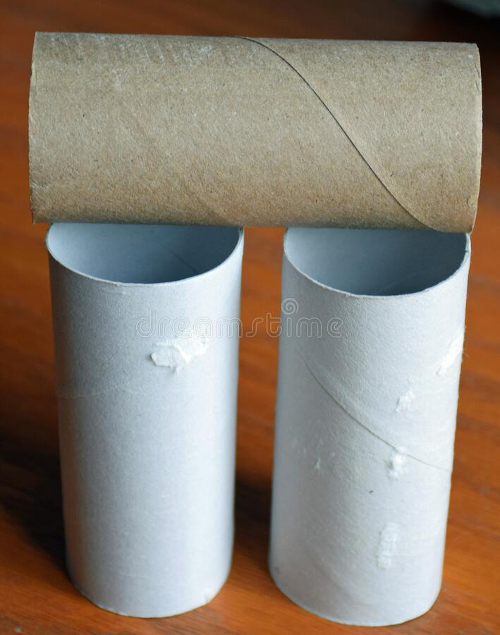 Empty toilet paper rolls. royalty free stock photography