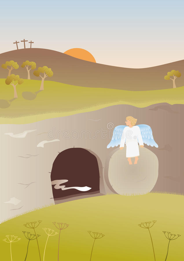 Empty tomb. The Easter story. Angel sitting on the stone in the front of the empty tomb of Jesus stock illustration