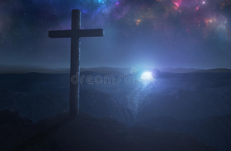 Empty tomb and cross stock images