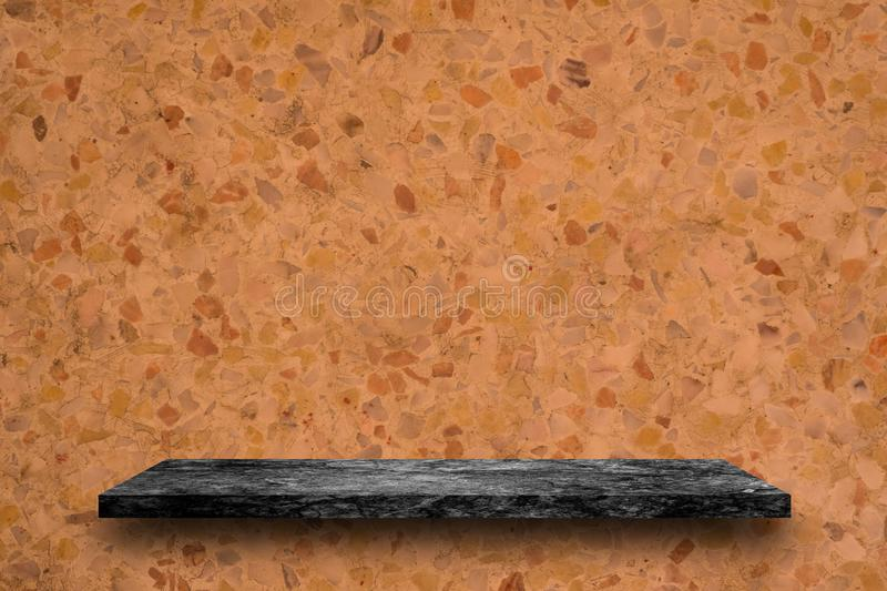 Empty top of black marble stone shelves on terrazzo background, product display, you can put product on shelves stock image