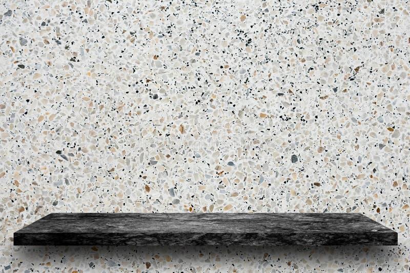 Empty top of black marble stone shelves on terrazzo background, stock photos