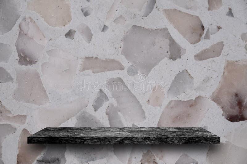 Empty top of black marble stone shelves on terrazzo background, stock photo