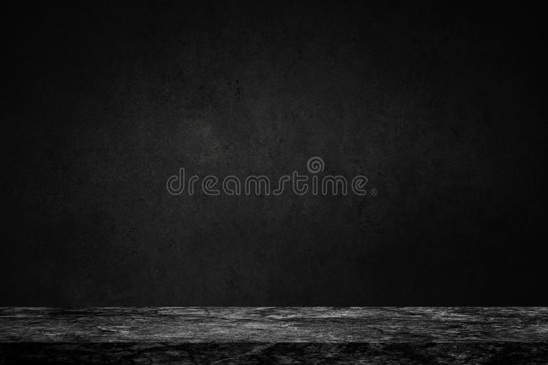Empty top of black marble stone table on concrete wall background texture grunge and grey surface with space or display for add t. Ext or image and product. Loft royalty free stock photo