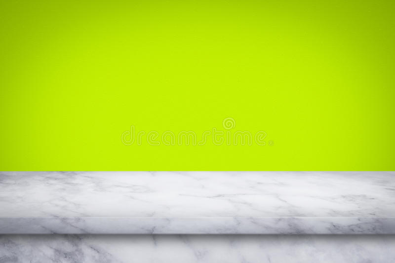 Empty top of marble table on green gradient wall background. royalty free stock images