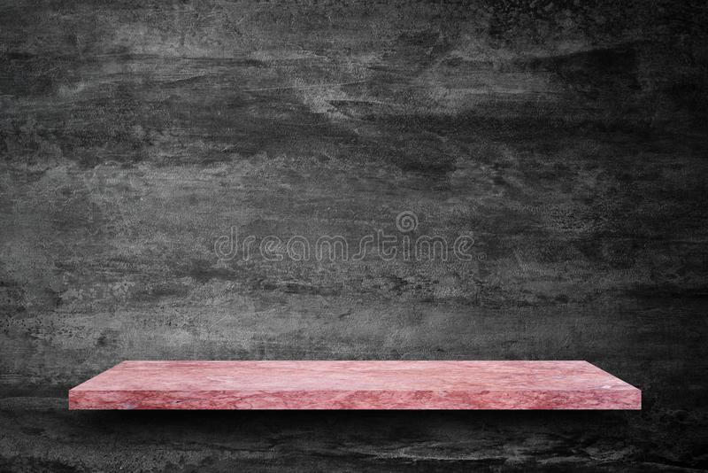 Empty top of pink marble stone table on concrete wall background stock image