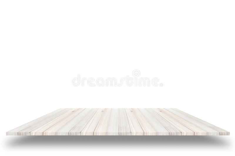 Empty top view of wooden table or counter (shelf) isolated on white background. For display of your products. royalty free stock image