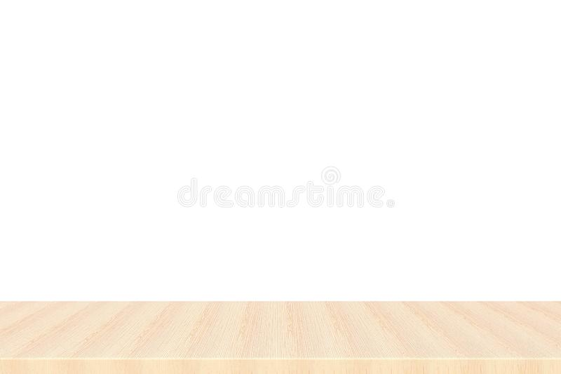 Empty top of wood maple table or counter isolated on white background. royalty free stock images