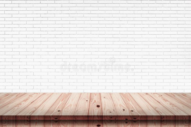 Empty top of wood table with white brick wall texture background stock photos
