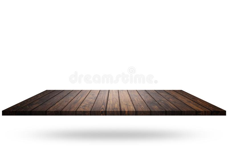 Empty top of wooden shelf or counter isolated on white. Saved wi stock photos