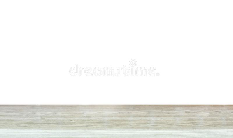 Empty top of wooden table on white background stock photography