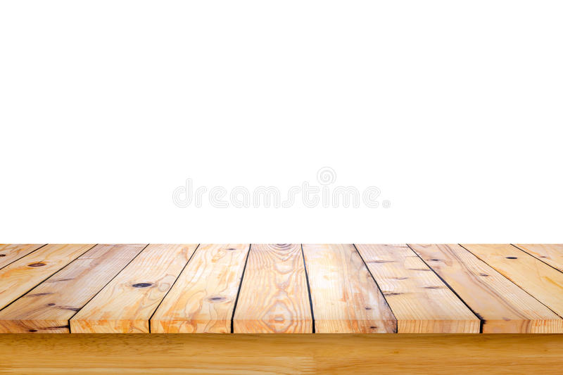 Empty top of wooden table or counter isolated on white background. royalty free stock image