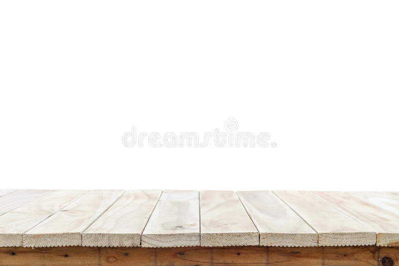 Empty top of wooden table or counter isolated on white backgroun royalty free stock photos