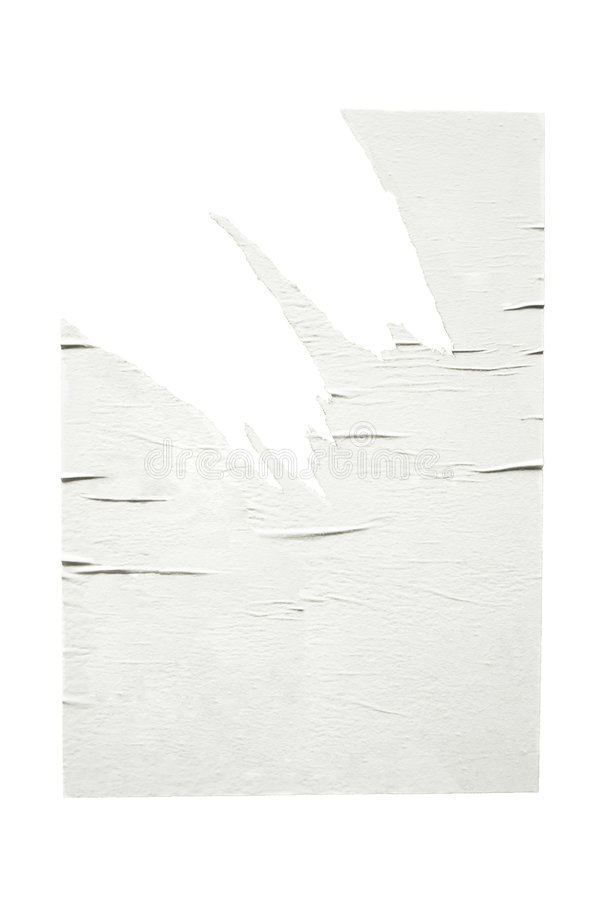 Empty torn poster, isolated royalty free stock photos